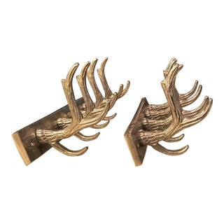 Hand Crafted Metal Antler Coat Rack - a Pair