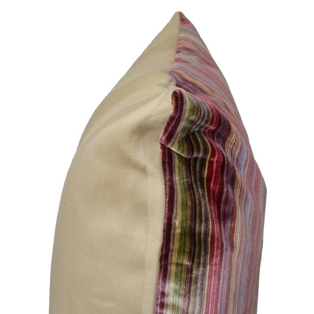 Scalamandré 100% Silk Velvet Rainbow Stripe Pillow - Image 7 of 10