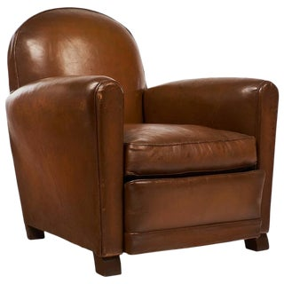 Vintage French Mid-Century Modern Leather Club Chair