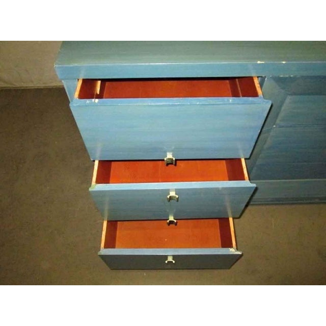 Mid-Century Blue Finish Wooden Dresser - Image 2 of 7