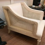 Image of Upholstered & Cane Mid-Century Armchair
