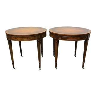 Vintage Heritage HENREDON Round Mahogany Leather Top Side End Tables - Pair