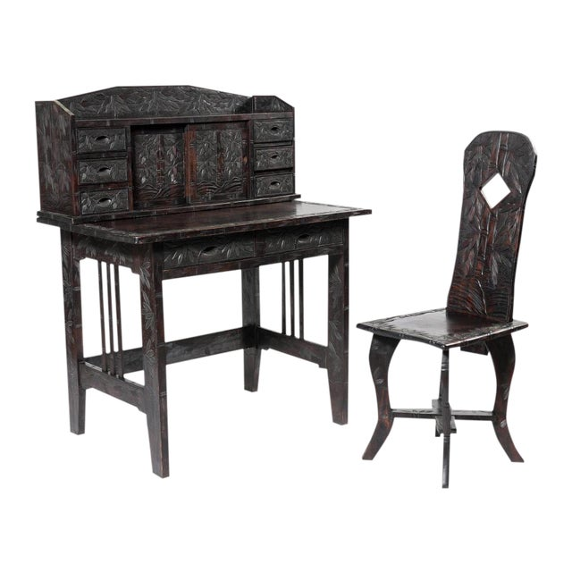 Carved Oriental Ladies Writing Desk & Chair - Image 1 of 6