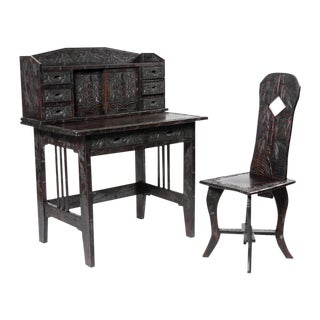 Carved Oriental Desk and Matching Chair