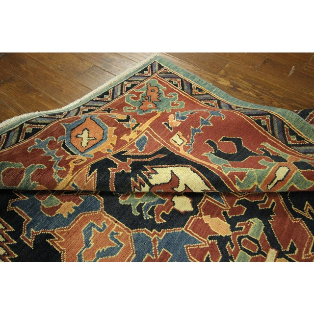 "Navy Chobi Hand Knotted Wool Rug - 6'6"" x 9'10"" - Image 6 of 9"