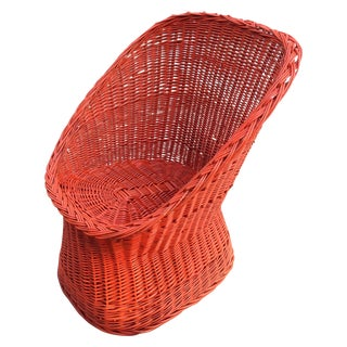 Vintage Bright Orange Wicker Chair