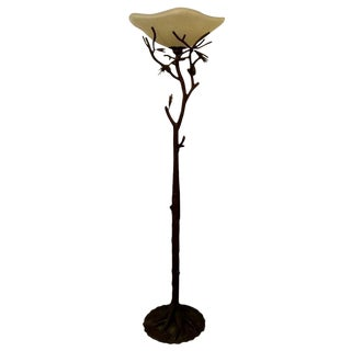 Patinated Faux Bois Wrought Iron Torchiere Floor Lamp