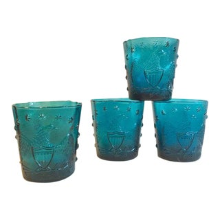 American Eagle and Star Cocktail Glasses - Set of 4