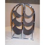 Image of Chrome & Leather Wine Rack