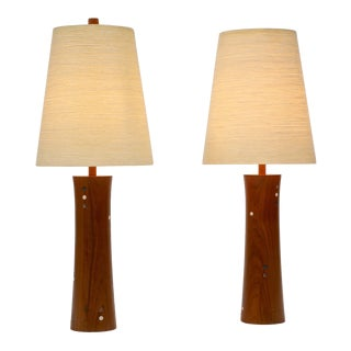 Pair of Turned Walnut and Tile Table Lamps by Gordon and Jane Martz