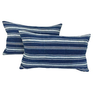 African Indigo Striped Pillows - a Pair