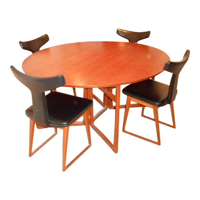 Arne Vodder for Sibast Gate Leg Teak Dining Table With 6 T-Back Black Leather Dining Chairs - Image 1 of 11
