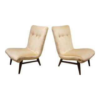 Sculptural Swedish Creamy Velvet Slipper Chairs - A Pair