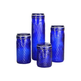 Vintage French Swirl Canisters S/4