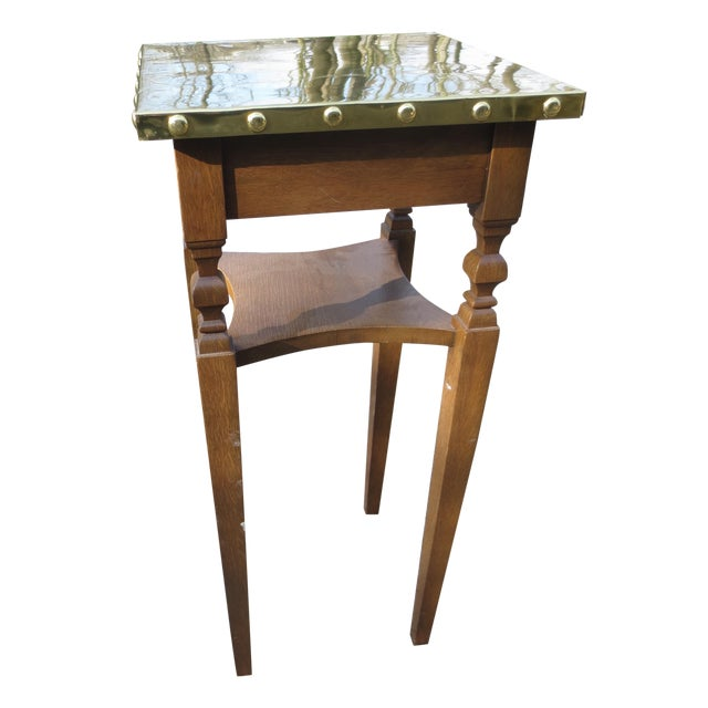 Brass Bradded and Wrapped Wine Table - Image 1 of 5