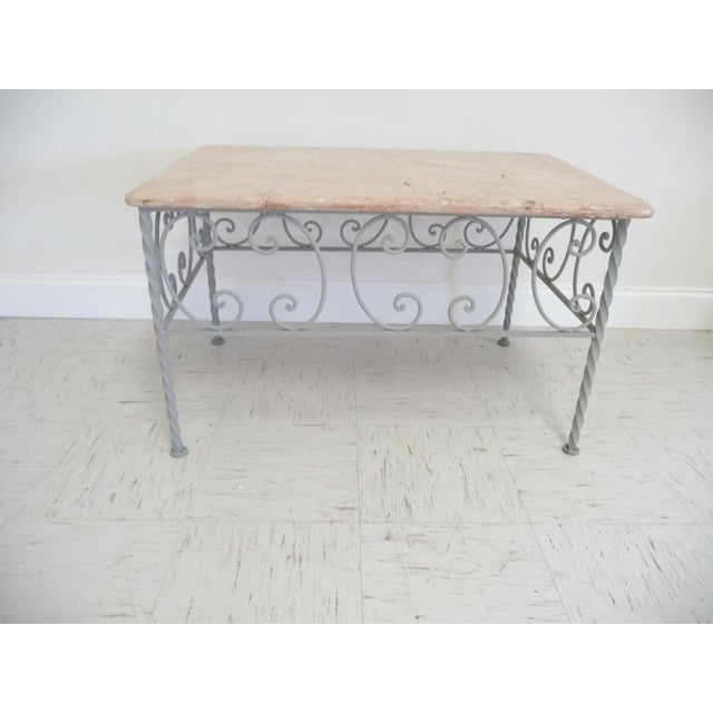 Antique French Marble Top Coffee Table: Vintage French Iron & Marble Top Coffee Table