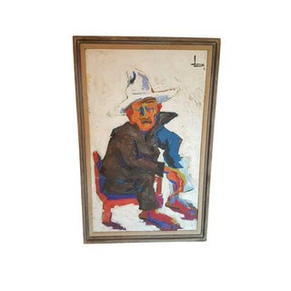 "Vintage ""Old Man of Tajin"" Impressionist Painting"