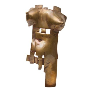 Mid-Century Modern Brutalist Bronze Sculpture of Female Torso