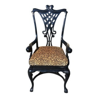 Early 1900's Black Gloss Leopard Chair