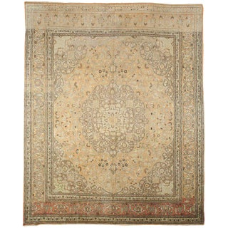 Antique Tan Tabriz Rug - 11′4″ × 14′1″