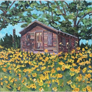 Cabin in Sunflower Field by Nancy Noel May