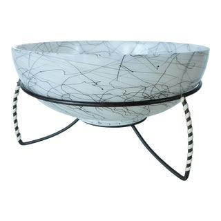 Vintage Hazel-Atlas Black and White Spaghetti Serving Bowl With Stand