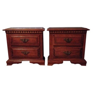 Mid Century Night Stands With Brass Pulls - Pair