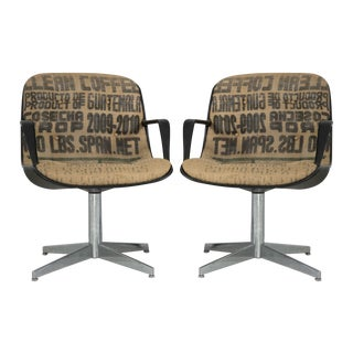 Steelcase Side Chairs in Burlap - A Pair