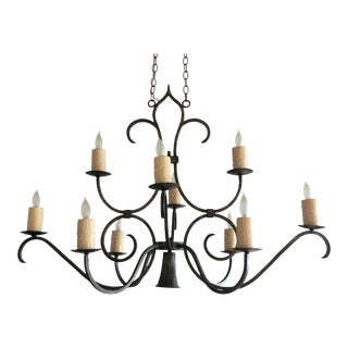 French Country 10 Light Iron Chandelier