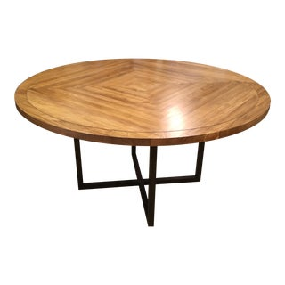Contemporary Round Wood & Steel Dining Table