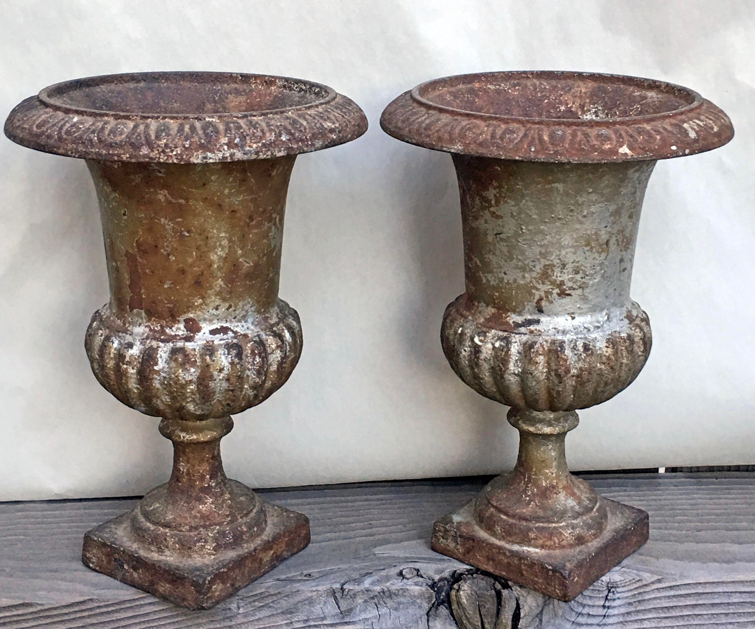 French Antique Cast Iron Garden Urns   A Pair   Image 2 Of 10