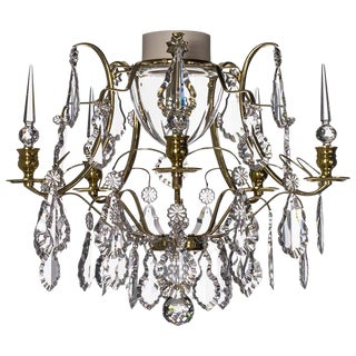 Baroque Brass 5 Arm Obelisque Bathroom Chandelier