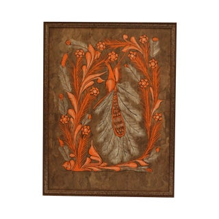 Orange Bird Print On Masonite