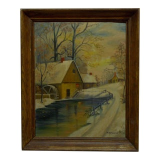 "Original Framed Painting on Board ""The Old Mill"" by H. Schwerha"