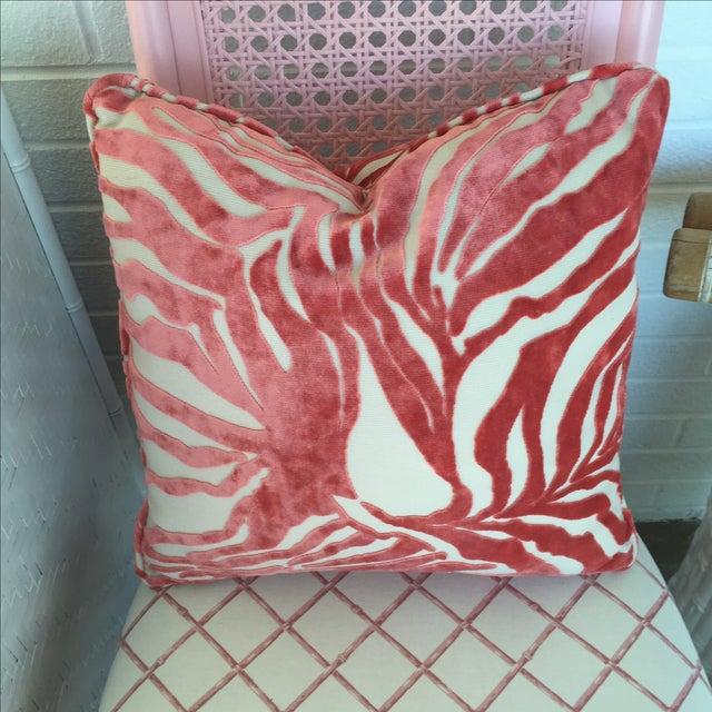 Image of Schumacher Crushed Velvet Pink Tiger Pillow