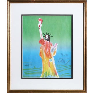 "1980 Peter Max ""Statue of Liberty (Green/Blue)"" Print"