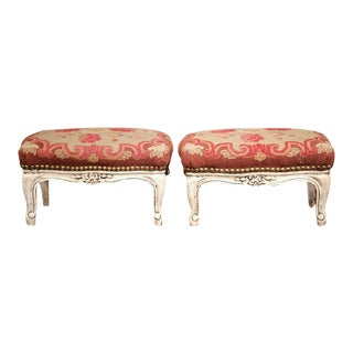 Early 20th Century French Louis XV Carved & Painted Footstools - A Pair