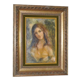 Vintage Young Woman Oil Portrait Guy Cambier