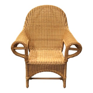 Natural Wicker Rolled Arm Chair