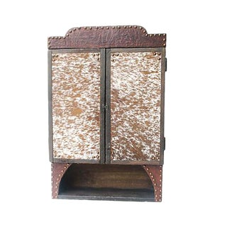 Custom Tooled Leather & Cowhide Hanging Cabinet