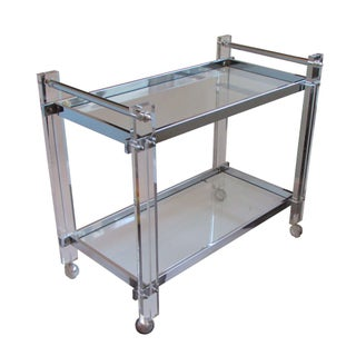 Lucite, Chrome & Glass Bar Cart
