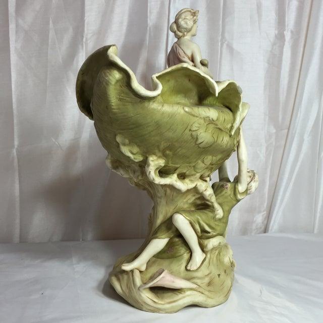 Image of Green Royal Dux Art Nouveau Statue