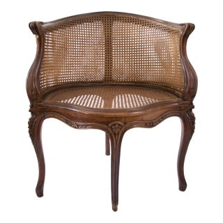 Antique Louis XV Style Caned French Corner Chair