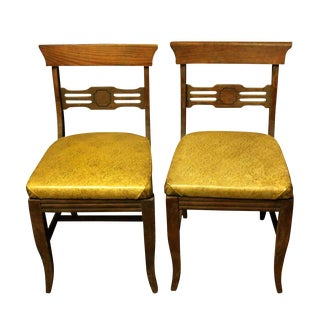 Solid Oak Chairs - A Pair