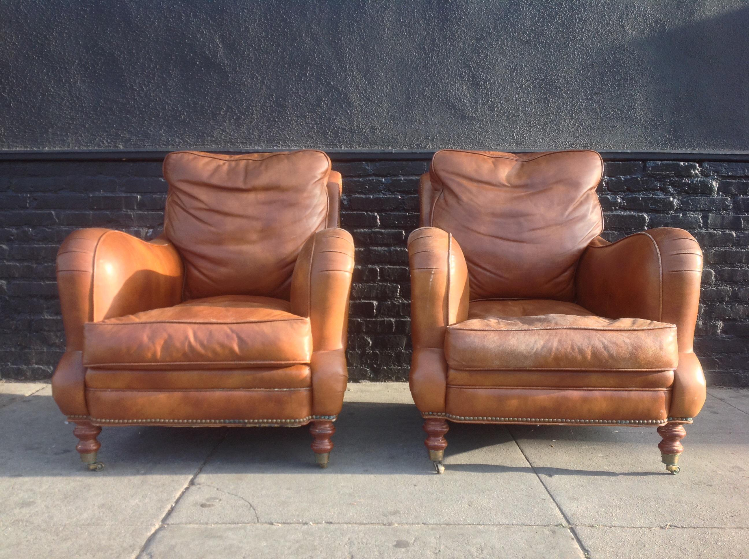 Down Filled Leather Club Chairs   A Pair   Image 2 Of 7