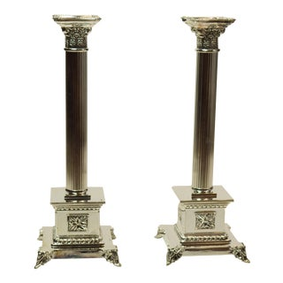 Silver Plated Italian Candle Holders - A Pair