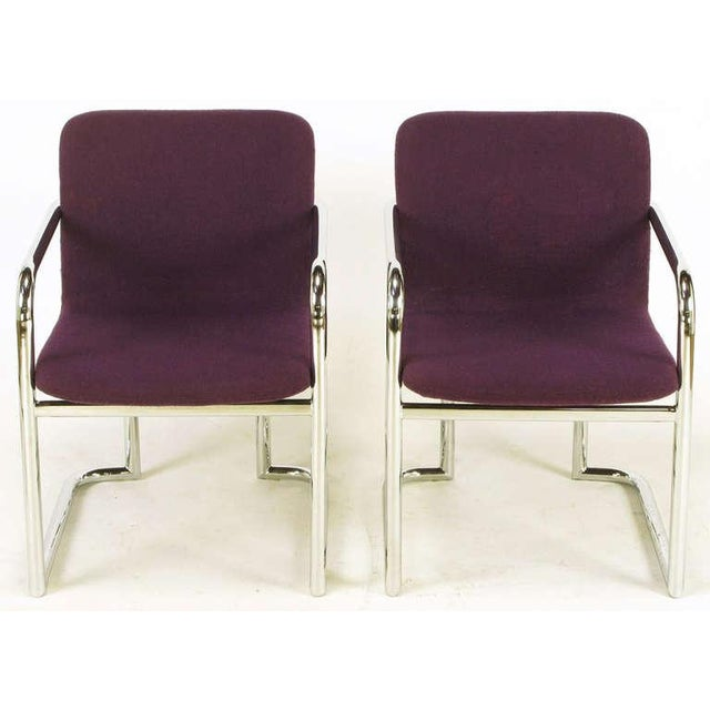 Image of Pair Chrome & Violet Wool Sled Arm Chairs