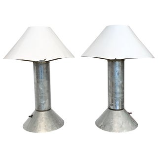 Ron Rezek Zinc Table Lamps 1980s Post-Modern -Pair