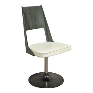 Mid-Century Modern Smoked Curved Lucite Swivel Base Desk Chair