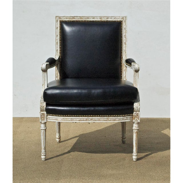 Vintage Black & White Louis XVI Bergere Chairs - A Pair - Image 7 of 9